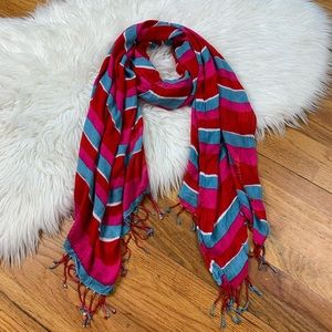 Juicy Couture Large Striped Lightweight Scarf/Wrap
